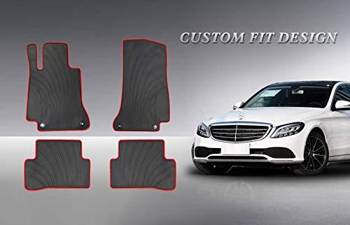 HD-Mart Auto Floor Mats Custom Fit for Mercedes-Benz C-Class W205 S205 2013 2014 2015 2016 2017 2018 2019 Rubber Black Car Floor Mat All Weather Heavy Duty Odorless