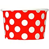 Red Paper Ice Cream Cups - 6 oz Polka Dotty Dessert Bowls - Comes In Many Colors & Sizes! Frozen Dessert Supplies - Fast Shipping! 1,000 Count