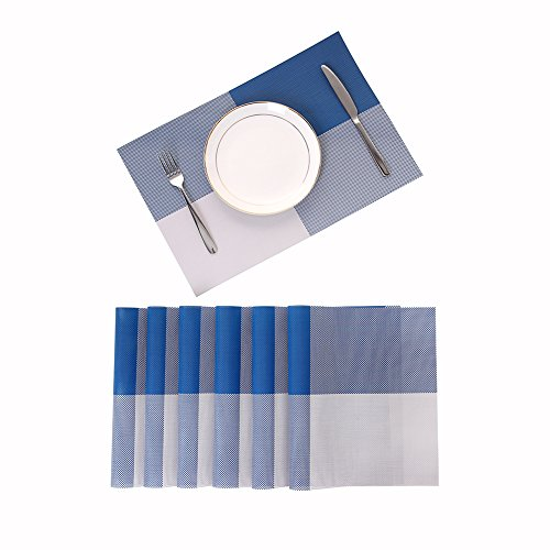 Placemats, Non-Slip Washable Heat Resistant Kitchen Table Mats for Dining Table 12×18 inch (Blue, 6 Pack)