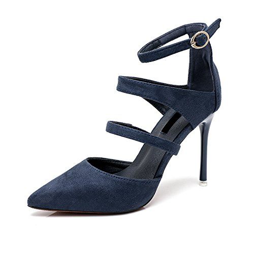 AGECC High Heels with Thin Heel and Shallowly Single Shoe blue