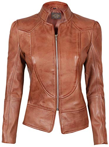 Womens Brown Amy Leather Jacket for Womens | Amy, XL