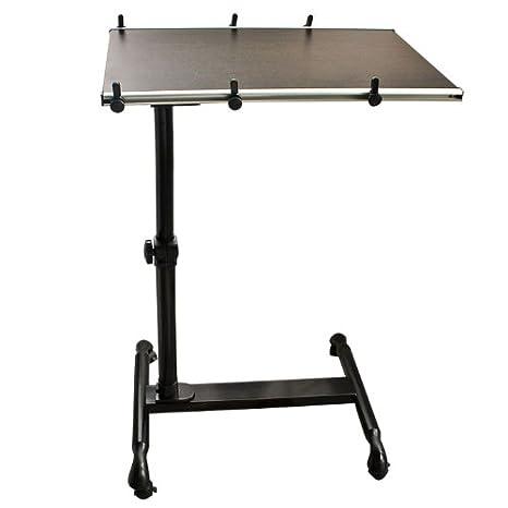 SoBuy®Mesa Auxiliar con Ruedas, mesas de Centro, mesas para portatiles, mesitas de Noche, Altura Ajustable, FBT07N-BR,ES