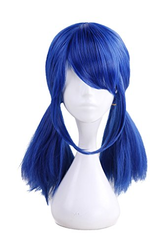 HH Building Side Bangs Pigtails Costume Cosplay Wig for LadyBug Girl Dark Blue Lolita -