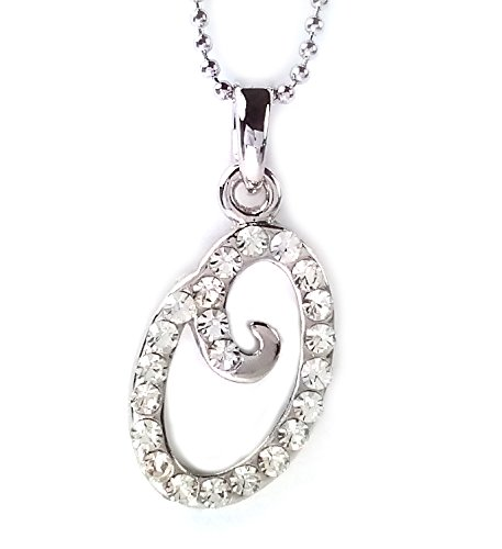[White Diamond O Pendant Necklace, Rhinestone Pendant Necklace 16