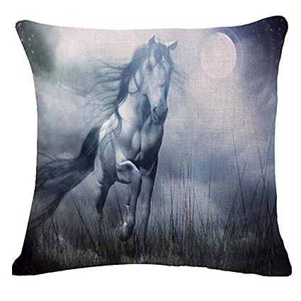 Amazon.com: Square Horse Cushion Cover Vintage Cotton Linen ...