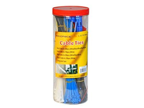 Monoprice Cable Tie Set, 1000pcs/Pack - Various Color with C