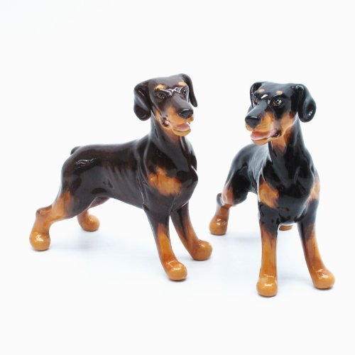 - Doberman Pinscher Dog Ceramic Figurine Salt Pepper Shaker Un-Cropped Ears 00003 Ceramic Handmade Dog Lover Gift Collectible Home Decor Art and Crafts