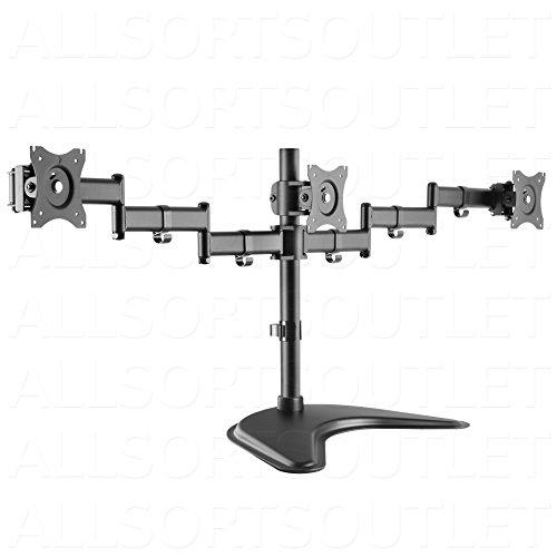 TRIPLE LCD LED TFT Monitor Desk Stand Mount Freestanding Fully Adjustable...
