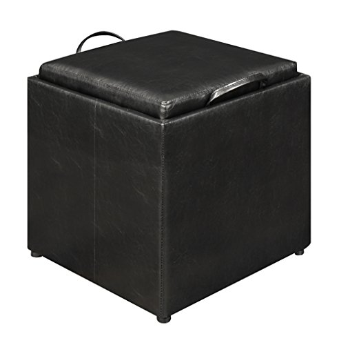 Convenience Concepts Designs4Comfort Park Avenue Single Ottoman with Stool, Black (Tray Ottoman Lid With)