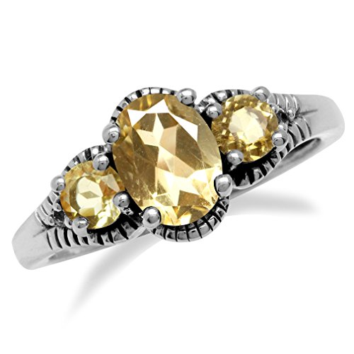 1.13ct. 3-Stone Natural Citrine 925 Sterling Silver w/Antique Finishing Ring Size ()