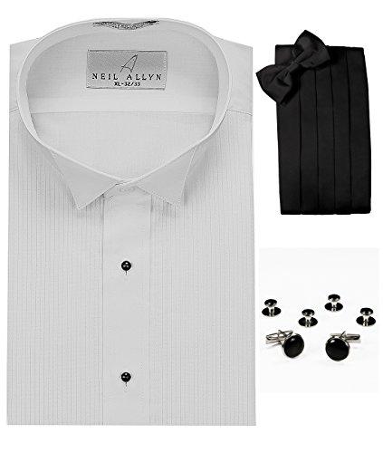 Wing Collar Tuxedo Shirt, Cummerbund, Bow-Tie, Cuff Links & Studs - Mens Wing Collar Tuxedo