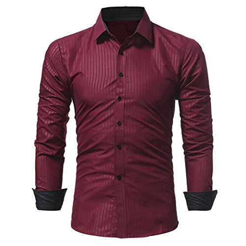 Box Lined Team Gift (Limsea Men Shirt Solid Color Stripe Male Long Sleeve Shirt)
