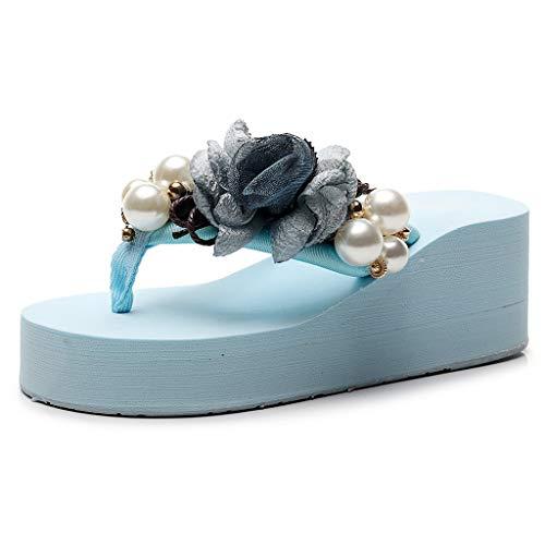 [해외]HIRIRI 여성 단색 진주 꽃 보헤미안 웨지 플립 비치 샌들 캐주얼 슬립 라운드 발가락 하이 힐 슬리퍼 / HIRIRI Ladies Solid Color Pearl Flowers Bohemian Wedges Flip Beach Sandals Casual Slip-On Round-Toe High Heel Slippers