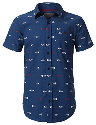Navy Fish - URBANCREWS Mens Hipster Hip Hop Graphic Printed Button Down Shirt Navy, XL