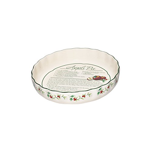 Pfaltzgraff Winterberry Pie Plate with Recipe Stoneware Gift Box, 9