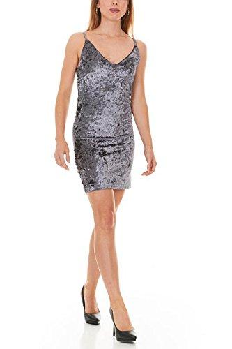 Metal Sleeveless Dress - Seranoma Women's V Neck Sleeveless Bodycon Short Dress (XL,Gunmetal)