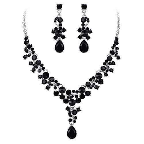 EVER FAITH Rhinestone Crystal Wedding Feast Floral Teardrop Necklace Earrings Set Black Silver-Tone