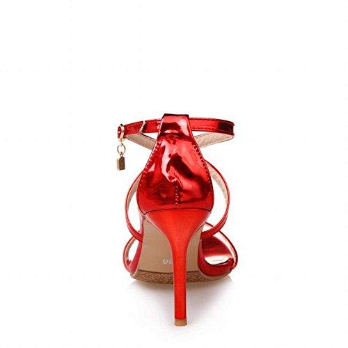 Femme Haut Bout Mariage Aiguille Chaussures Ouvert Rouge Chic Bride YE Cheville Talon Sandales WnRXUgag8