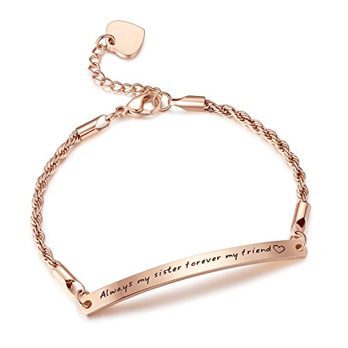 "Stainless Steel Engraved Inspirational Promise Adjustable Bracelet, Jewelry for Women, Girls, 7.5""+ 2"""