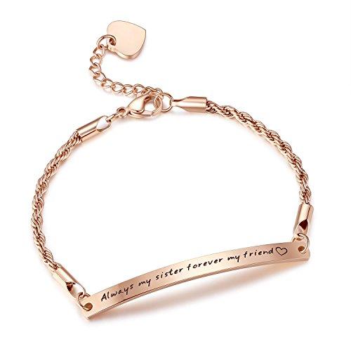 "Stainless Steel Engraved Inspirational Promise Adjustable Bracelet, Jewelry for Women, Girls, 7.5""+ 2"""