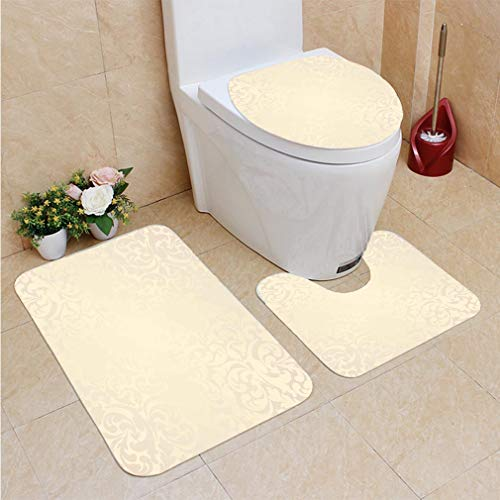- 3 Sets of Bathroom Home, Bathroom Carpet + Contour pad + lid Toilet seat,Ivory Classic Victorian Style Monochrome Damask Background with Swirl Floral Effects Artsy P, Flannel Carpet