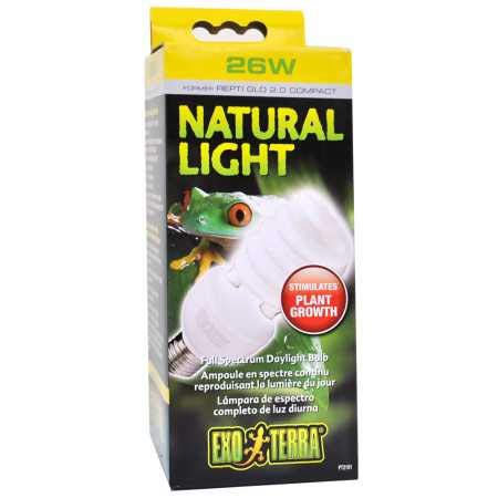 Exo Terra Repti-Glo 2.0 Compact Fluorescent Full Spectrum Terrarium Lamp, 26-Watt (Natural Light) (Fluorescent Light Spectrum)