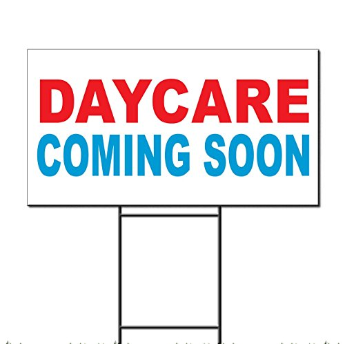 Daycare Coming Soon Red Blue Corrugated Plastic Yard Sign /Free Stakes 18 x 24 inches Two Sides Color