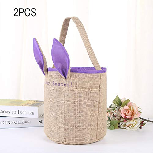 (NszzJixo9 2PCS Cloth Bag Happy Easter Egg Basket Holiday Rabbit Bunny Printed Canvas Gift Carry Eggs Candy Bag, for Teenagers and Kids, (Purple))