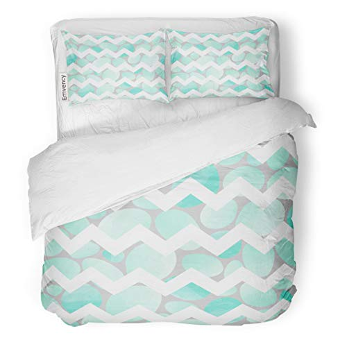 Semtomn Decor Duvet Cover Set Twin Size Watercolor Arts Abstract Stones and Chevron Crafts Baby 3 Piece Brushed Microfiber Fabric Print Bedding Set -