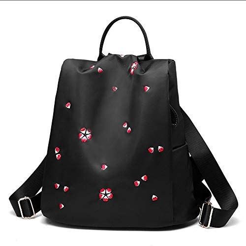 (Backpack - Fashion Elegant Oxford Cloth Embroidery Backpack Small Fresh Mini Wild Canvas Light Backpack Anti-Theft Waterproof Large Capacity (Color : Black, Style : Cherry Blossom) )