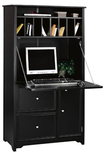 Home Decorators Collection Oxford Tall Secretary Desk, 1-DOOR/2-DRAWER, Black ()