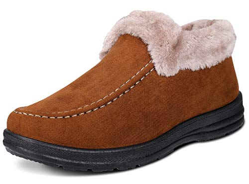 Labato Style Women's Winter Short Snow Boots Warm Slip-on Walking Shoes Fur Lined Footwear (Yellow, 9 B(M) - Boots Walking Lightweight
