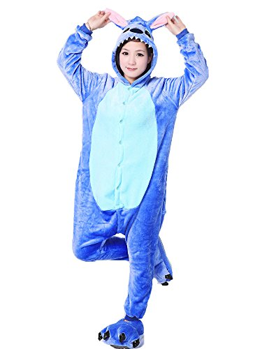 [Adults Stitch Onesie Halloween Costumes Sleeping Wear Kigurumi Pajamas (L, Blue Stitch)] (Stitch Costumes Adults)