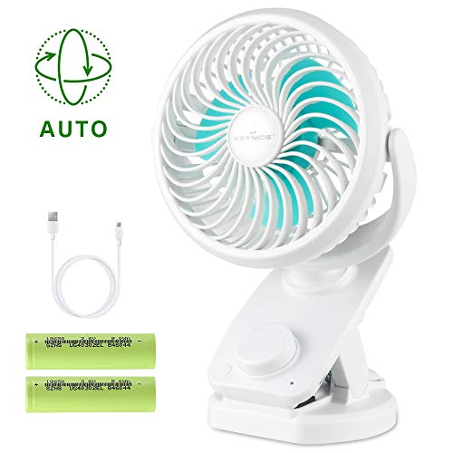 KEYNICE Clip Fan USB Desk Fans Table Personal with Rechargeable 5000mAh Battery Operated 90°Auto Rotation, Quiet Fan for Baby Stroller, Office, Home, Dorm, Camping- White