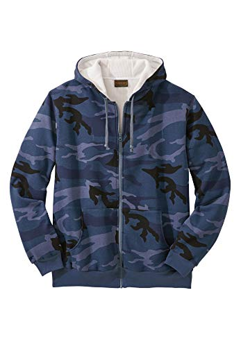 - Boulder Creek Men's Big & Tall Full-Zip Thermal Hoodie, Navy Camo Tall-XL