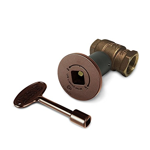 3/4 Inch Straight Decorative Gas Key Valve Kit with Antique Copper Floor Plate Flange and Key (Starfire Floor)