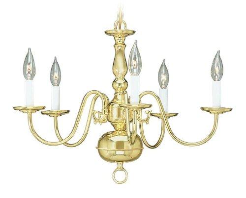 Livex Lighting 5005-02 Williamsburg 5 Light Polished Brass Chandelier