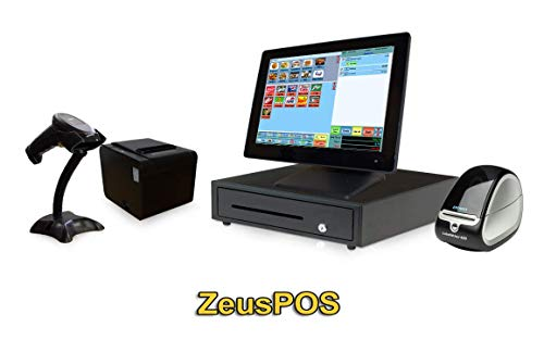 Retail Point of Sale System - Beginner POS System Includes Touchscreen PC, POS Software (Zeus POS), Receipt Printer, Scanner, Cash Drawer, Credit Card Swipe Reader, Label Printer