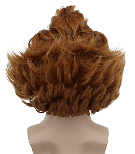Karlery Short Fluffy Brown Curly Horror Pennywise Wig Halloween Cosplay Wig Costume Anime Wig