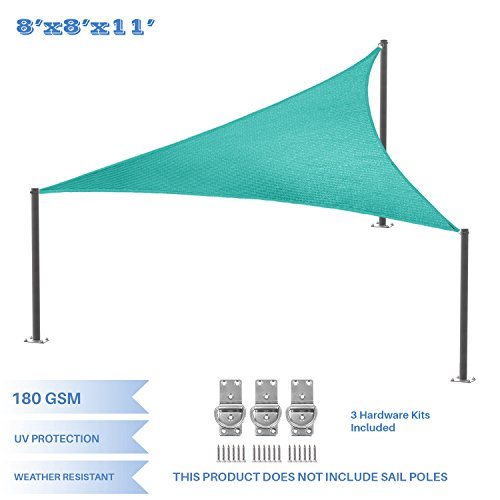 E&K Sunrise 8' x 8' x 11' Turquoise Green Right Triangle Sun Shade Sail - Included Pad Eyes -, Shade Fabric Cover Backyard Deck Sail Canopy UV Block (11' Pad Cover)