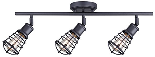 CANARM IT611A03GPH Otto 3 Light Track Rail Graphite with Metal Cage (3 Light Rail Light)