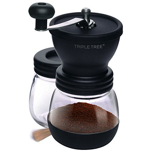 Manual Coffee Mill Grinder with Ceramic Burrs , Two Clear Glass Jars, Stainless Steel Handle and Silicon Cover