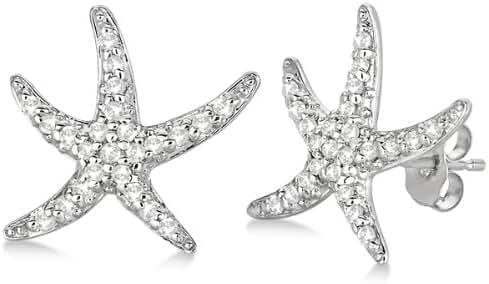 Diamond Starfish Earrings Nature Themed 14kt White Gold (0.50ct) Star fish stud earrings