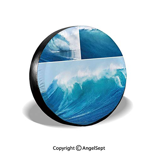 Tire Cover,Collage of Giant Sea Wave Photos Refreshing Diving and Surfing Lifestyle Leisure Concept Art,Blue,for Jeep,Trailer, RV, SUV and Many Vehicle 14