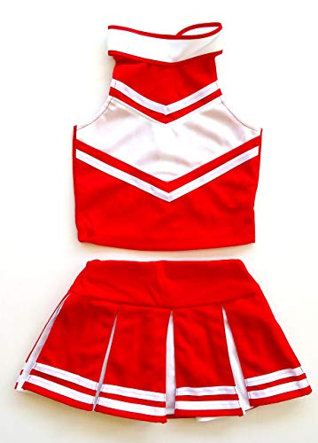 Little Girls' Cheerleader Cheerleading Outfit Uniform Costume Cosplay Red/White (S / 2-5)