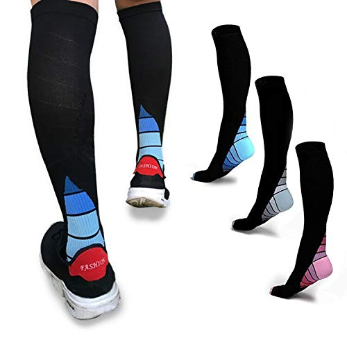 (Yodofa 3 Pairs Graduated Compression Socks 20-30mmHg for Men & Women Best Stocking for Running, Medical, Athletic, Flight, Travel, Pregnancy, Nursing, Shin Splints & Speed-up Muscle Recovery)
