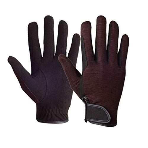 Horse Riding Gloves Equestrian Outdoor Breathable Stretchable Horse Show Glove with Wear-Resistant Non-Slip Equestrian Gloves for Women Men, 1 Pair Work Gloves (Color : Brown, Size : M)