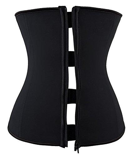 SEXYWG Women's Latex Waist Trainer Zipper & Hook Trimmer Corset Body Shaper