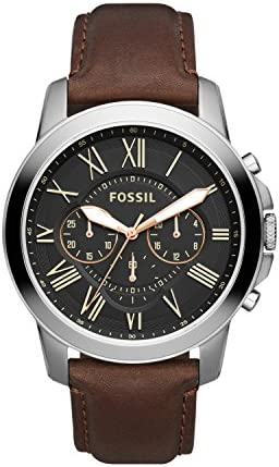 Fossil Men's Grant Quartz Leather Chronograph Watch, Color: Brown (Model: FS4813IE)