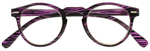 Sunglass Stop - Colorful Small Round Circle Rx Optical Magnification Reading Readers Glasses Rivets Keyhole Eyewear (Purple | Black Stripe, +2.50)